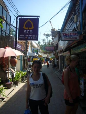 Lali walking on the street in Koh Phi Phi. In the island there aren't any cars