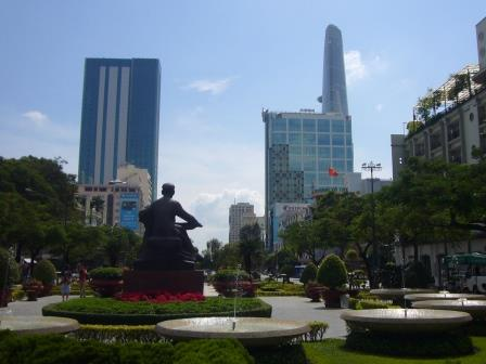 Park in Ho Chi Minh City with a Ho Chi Minh Sculture