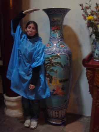 Lali in Ngoc Son Temple, when she saddly noticed that she was smaller than a vase