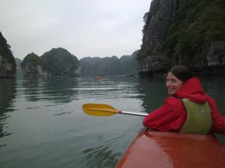 Lali kayaking in Halong Bay