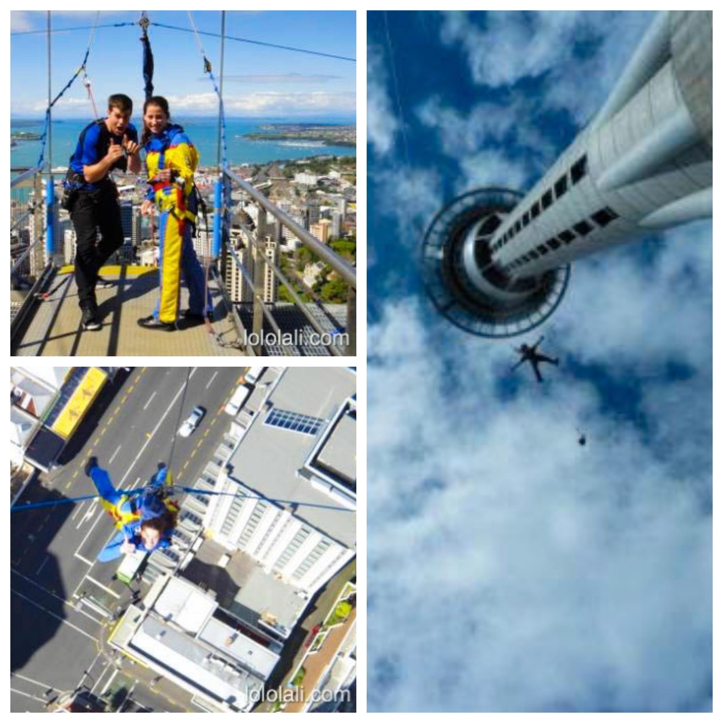 Lali tirándose del Sky Tower, Auckland, Nueva Zelanda, Oceanía
