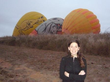 Lali por empezar la aventura de viaje en globo