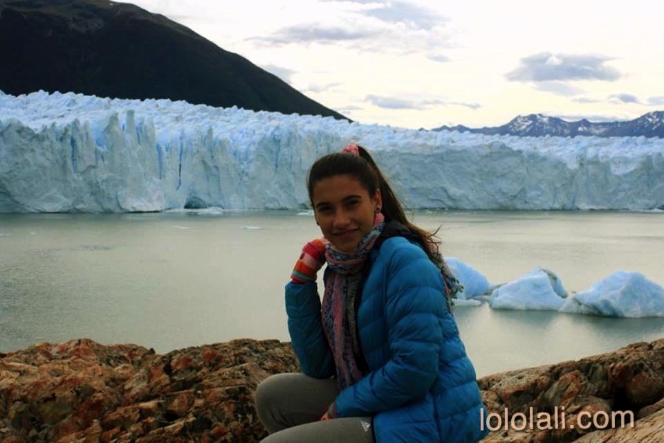 Angie and Perito Moreno Glacier behind her