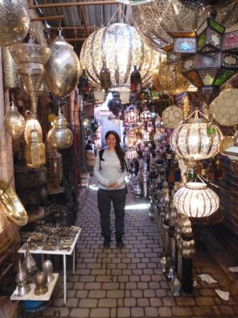 Lali in a Lamp shop in the most popular Souk in Marrakech