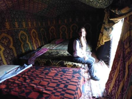 Berber tend where I spent the night. In my case as we were few I did not have to share the tend. Super comfortable