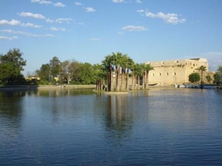 Artificial lake in park in Fez