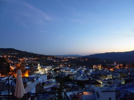 View of sunset in Chefchaouen from the terrace of the Riad where I was staying
