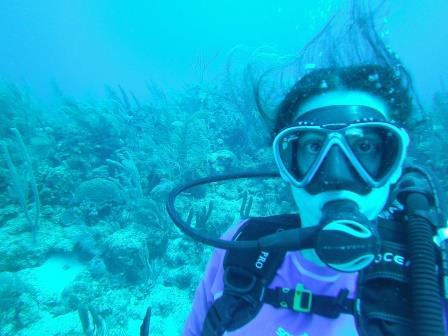 Lali buceando en la Isla San Andrés