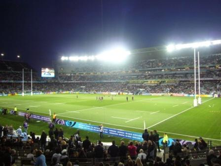 A punto de iniciar el partido Los Pumas - All Blacks