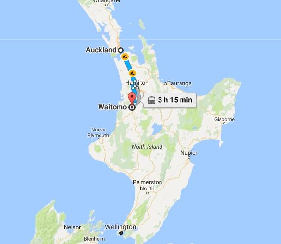 Recorrido en auto desde Auckland hasta Waitomo