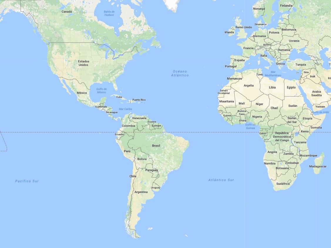 Mapa en el que se observa la Argentina y se puede comparar su tamaño con muchos otros países