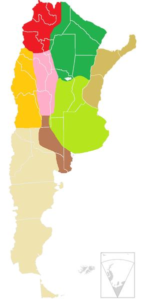 Mapa de Argentina con división de zonas