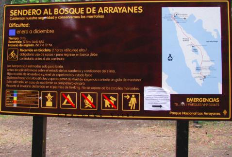Cartel Parque Nacional Los Arrayanes