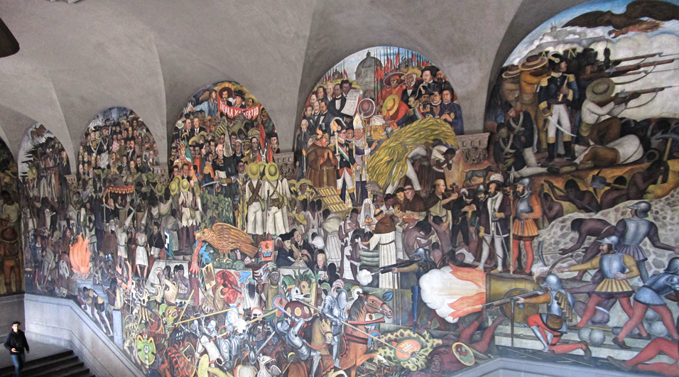Mexico de Hoy y Mañana by Diego Rivera at the Government Palace. Our guide used this mural to give us a glimpse of Mexican history