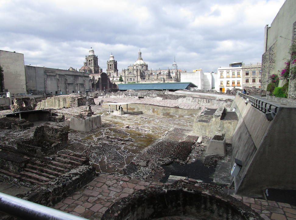 Templo Mayor ruins and Mexico City Cathedral