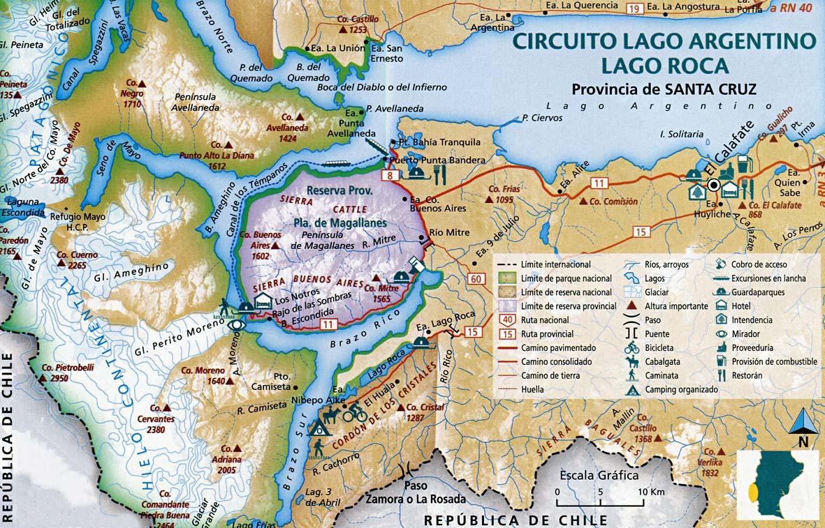 Mapa de los Glaciares argentinos