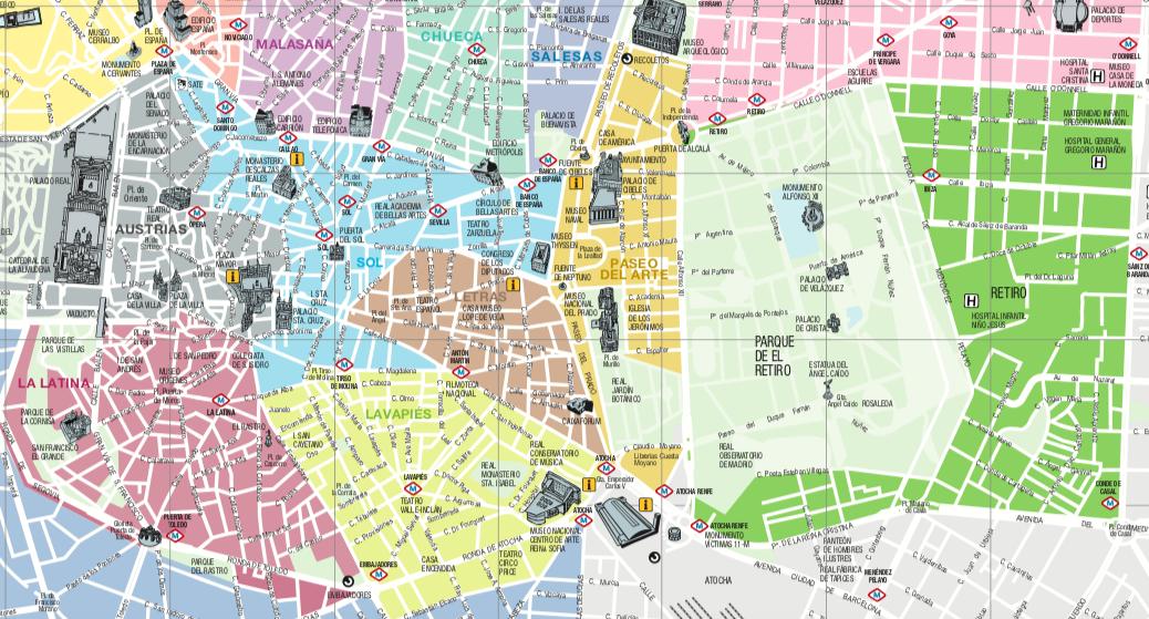 Mapa de los barrios de Madrid