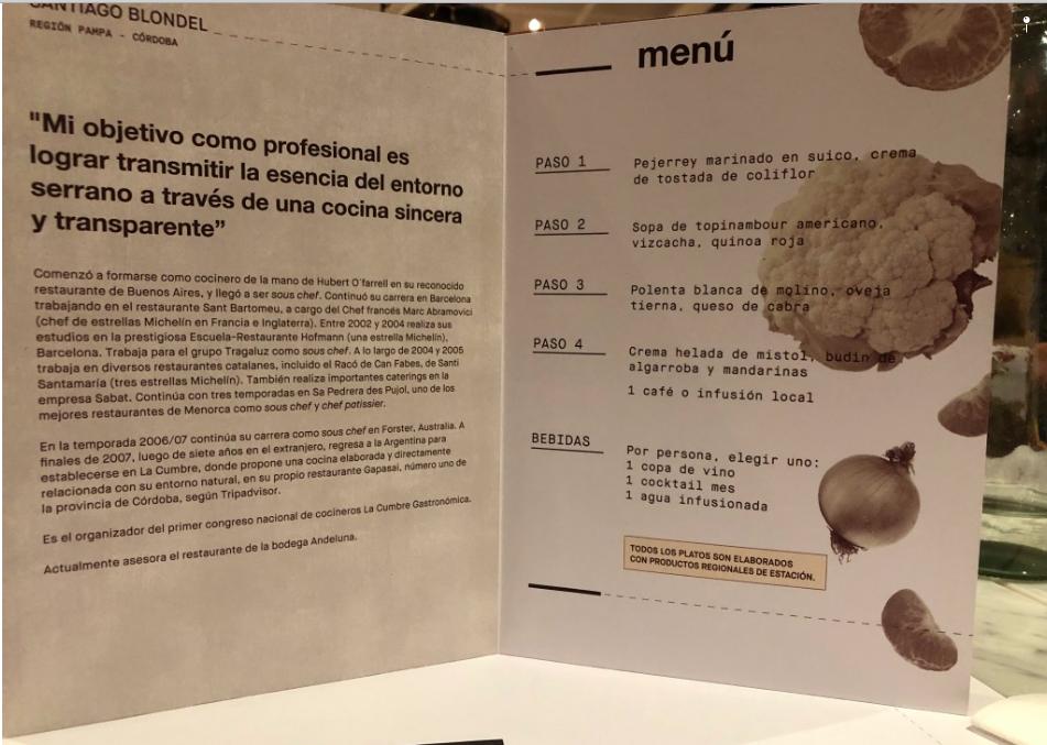Menú del chef Santiago Blondel - Córdoba - Región pampeana